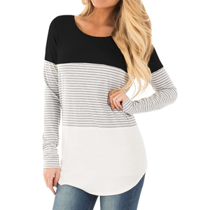 Maternity Striped Splicing Long-Sleeved Nursing T-Shirts
