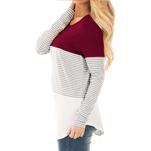 Load image into Gallery viewer, Maternity Striped Splicing Long-Sleeved Nursing T-Shirts
