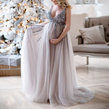 Load image into Gallery viewer, Maternity V-Neck Maxi Tulle Gown With Tonal Delicate Sequins Maxi Dress