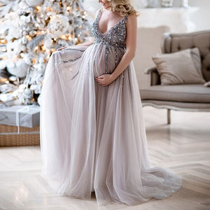 Maternity V-Neck Maxi Tulle Gown With Tonal Delicate Sequins Maxi Dress