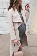 Load image into Gallery viewer, Maternity Fold Over Collar Solid Color Loose Trench Coat