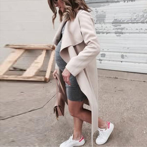 Maternity Fold Over Collar Solid Color Loose Trench Coat