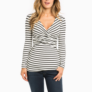 Maternity Casual Striped T-Shirts