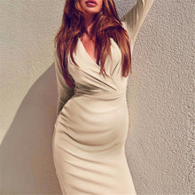 Load image into Gallery viewer, Maternity V-Neck Solid Color Slim Bodycon Dress