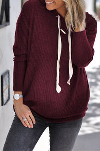 Maternity Solid Color Drawstring Hooded Sweater