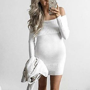 Maternity Boat Neck Off-Shoulder Long Sleeve Pure Colour Dress