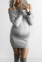 Load image into Gallery viewer, Maternity Boat Neck Off-Shoulder Long Sleeve Pure Colour Dress