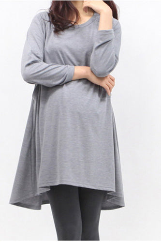 Maternity Long Sleeve Solid Color Round Neck T-Shirts
