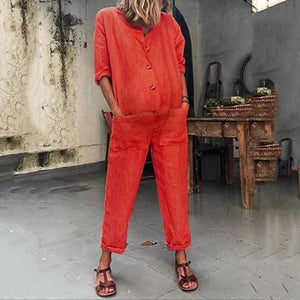 Maternity Pocket Long Sleeve Color Jumpsuits