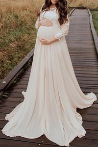 Maternity Sweet Round Neck Pure Colour Inwrought Dress