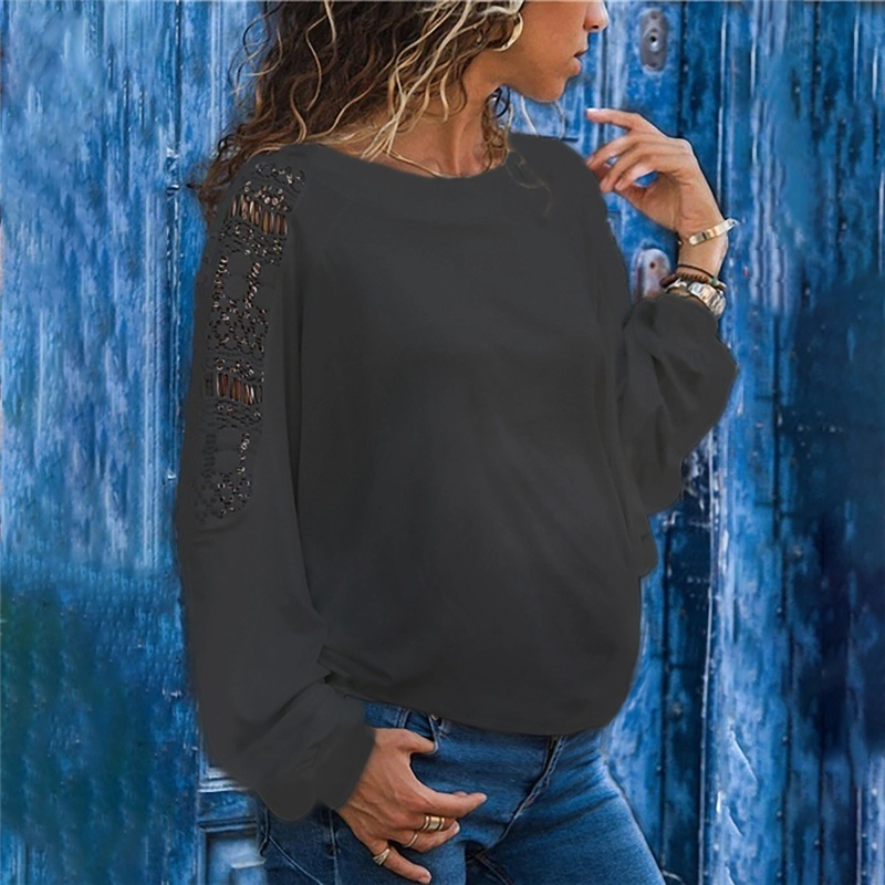 Maternity Solid Color Hollow Long Sleeve Loose Lace T-Shirts