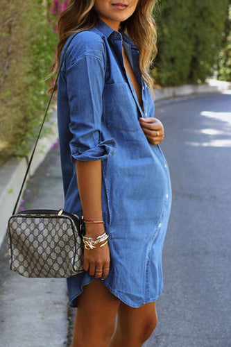 Maternity Casual Pocket Long Sleeve Denim Shirt Dress