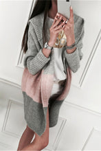Load image into Gallery viewer, Maternity Color Block Medium Length Knit Hoodie Cardigan