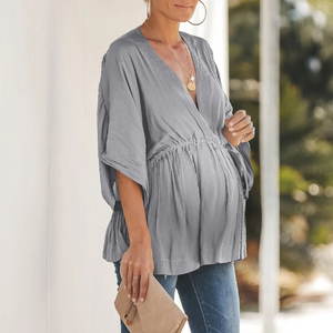 Maternity Casual V Neck Halflong Sleeve T-Shirts