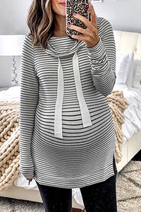 Maternity Casual Long Sleeve Striped Belted Sweatshirts