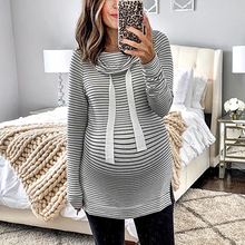 Load image into Gallery viewer, Maternity Casual Long Sleeve Striped Belted Sweatshirts