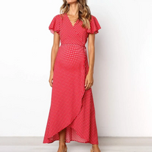Load image into Gallery viewer, Maternity V-Neck Polka Dots Asymmetrical Long Dress