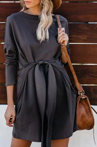 Maternity Casual Solid Colour Long Sleeve Dress