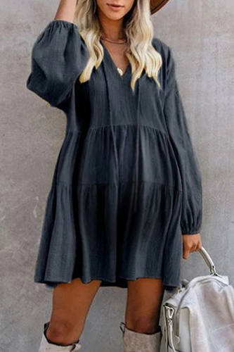 Maternity Loose Bubble Sleeve Pure Color Casual Dress