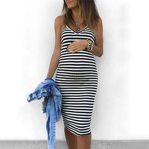 Fashion Casual Maternity Stripes Cami Dress