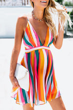 Load image into Gallery viewer, Maternity Deep V-Neck Backless Stripe Above Casual Dress