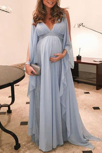 Maternity V Neck Photoshoot Maxi Dress