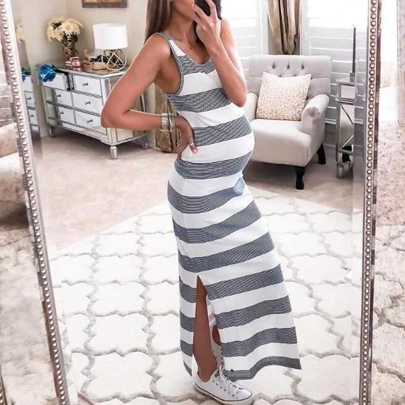 Maternity Side Slit Cut Wide Stripes Casual Sundress