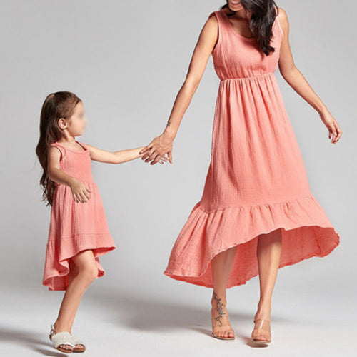 Mom Girl Fresh And Sweet Round Neck Cake Dress