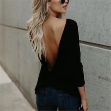 Load image into Gallery viewer, Maternity Round Neck Backless Long-Sleeved T-Shirts