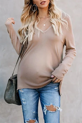 Maternity V Neck Solid Colour Long Sleeve T-shirts