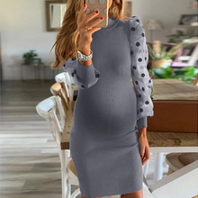 Load image into Gallery viewer, Maternity Half High Collar Splicing Polka Dot Sleeve Dress