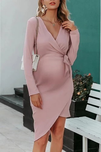 Maternity Fashion Casual Solid Color V-neck Casual Dress