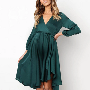 Maternity Temperament V-neck Strap Casual Dress