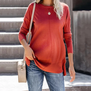 Maternity Casual Pure Color Round Neck Sweatshirts