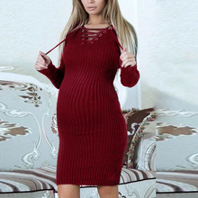 Load image into Gallery viewer, Maternity Long Sleeve Tie Collar Pure Color Dress