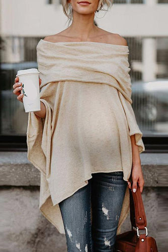 Maternity Loose Off Shoulder Irregular Hem Strapless Sweatershirts