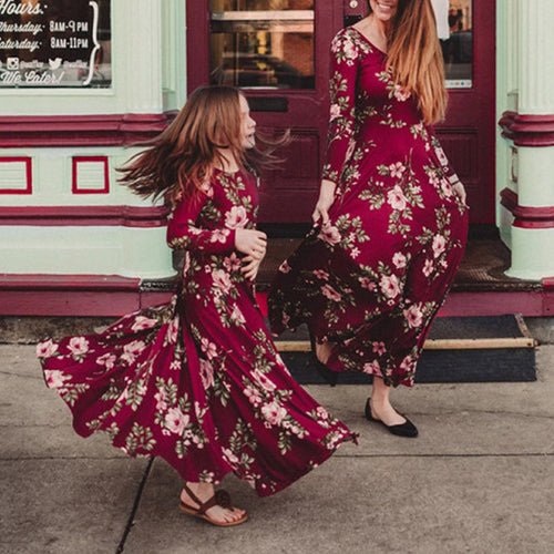 Mom girl flower print long sleeve red maxi matching dress