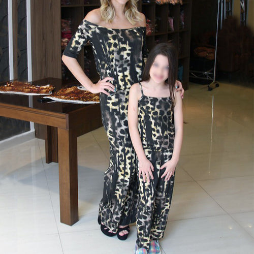 Mom Girl Round Neck Short Sleeve Leopard Print Jumpsuit