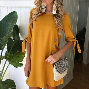 Maternity Fashion Round Neck Hlaf Sleeve Casual Shift Dress