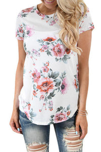 Maternity Round Collar In Floral Print T-Shirts