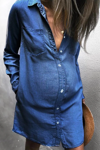 Maternity Fashion Button Denim Shirt Casual Dress