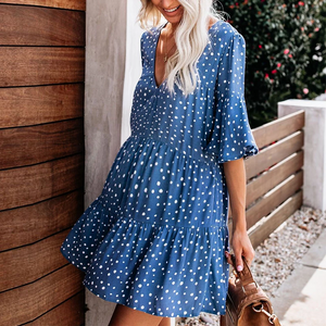 Maternity Casual V Neck Dots Layered Dress