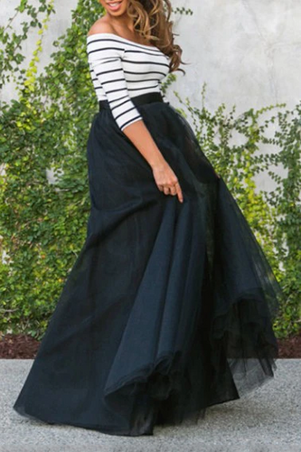 Maternity Fashion Casual stripe Off Shoulder Maxi Dress