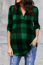 Load image into Gallery viewer, Fashion Casual V-neck Long Sleeve Plaid Blouse