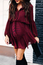 Load image into Gallery viewer, Maternity Casual Turndown Collar Plaid Bishop Sleeve Belted Dress