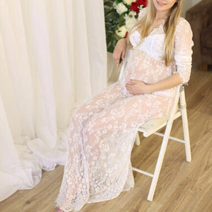 Fashion Sexy Perspective Lace Photo Long Sleeve Dress