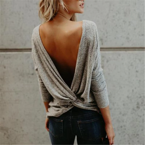 Maternity Round Neck Backless Long-Sleeved T-Shirts