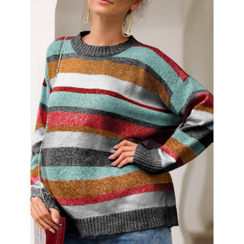 Maternity Striped Knit Pullover Sweater