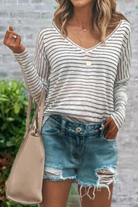 Maternity Casual Long Sleeve Striped Loose T-Shirts