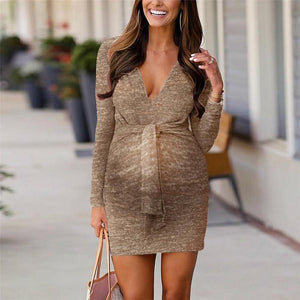 Maternity Casual Deep V Neck Long Sleeve Dress